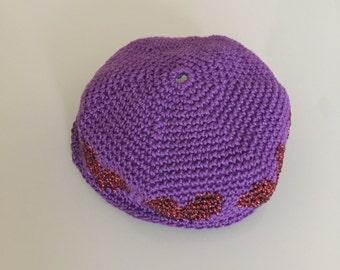 Child's Kippah, Kid's Kippah, Crochet Kippah, Heart Kippah, Kippot, Crochet Yarmulke, Kid's Yarmulke, Crochet Skullcap, Children's Kippah