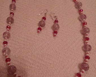 Red and White Necklace and Earring Set