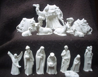 Ceramic Bisque 15 Piece SMALL  Riverview Nativity Set - NO STABLE - Unpainted - Ready-to-Paint - C416