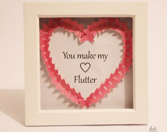 Butterfly You Make My Heart Flutter Picture Frame Pink 7x7""