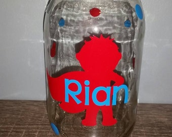 personalized bank, super hero, children's birthday gift, large quart mason jar