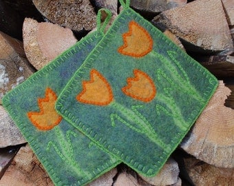 Pot holders - hot pads - felted hot pads - wool hot pads - wool potholders - set of two - set of 2 - felt gift - kitchen decor - tulips