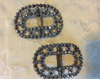 "Lovely Victorian Cut Steel Shoe Buckles! A Well Preserved Antique Matching Set W Riveting. Each Buckle is 2""X1.5""."
