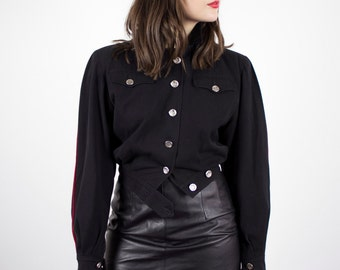 Vintage 1940s MADEMOISELLE SWISS Black Coat / Military Coat / Crop Coat / XS