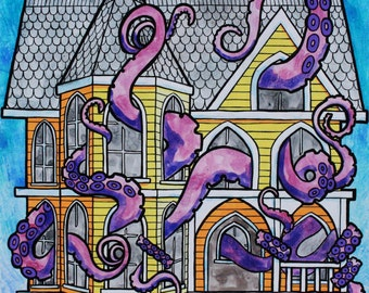 Victorian House and Tentacles, Art Print
