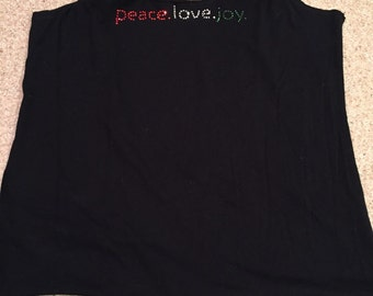 Peace Love Joy upcycled tshirt market bag
