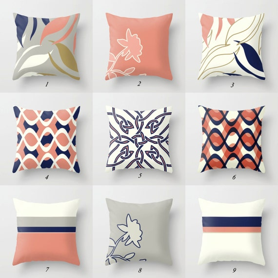Pink Pillow Cover Navy Blue Pillow White Gray Throw