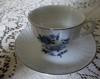Royal Blue Enoch Wedgewood cup and saucer