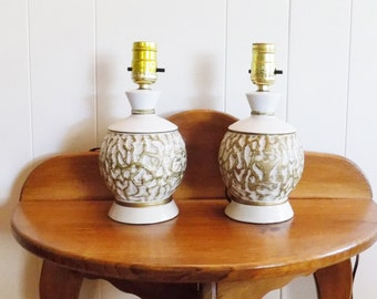 "White and Gold Nightstand Lamps, Mid Century 9"" Tall without Shade, Shades sent Upon Request"