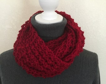 Deep red handknitted infinity scarf