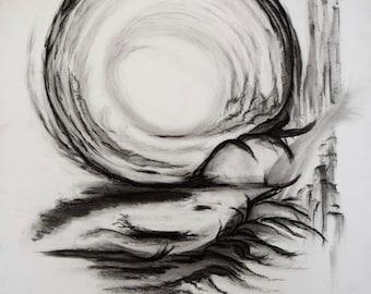 Deep Roots... original charcoal drawing