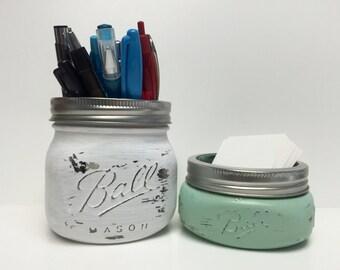 Office Sets, Mason Jar Office Decor, Business Card Holder, Pen Holder, Elite Jar, Any Color, Rustic Office Decor, Storage, Desk Organizer