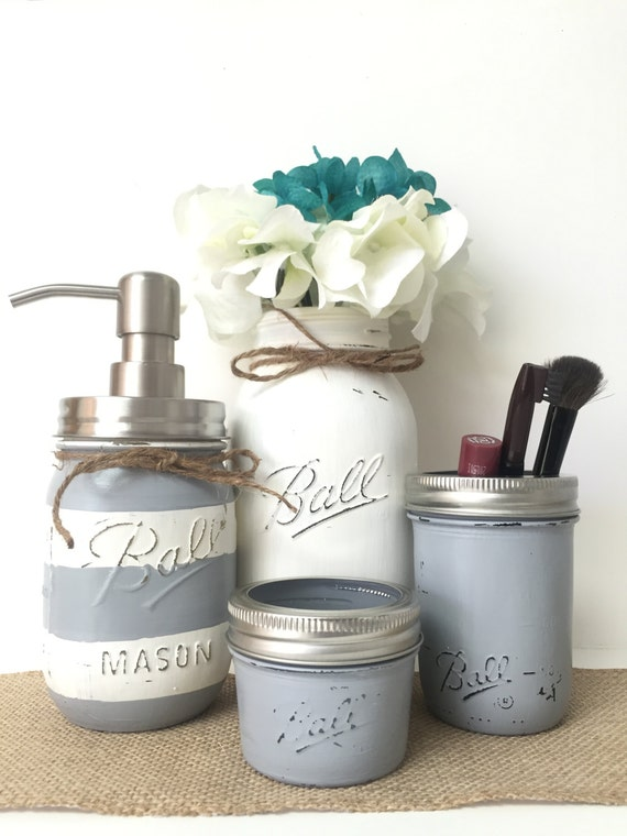 gray mason jar bathroom set striped soap dispenser white