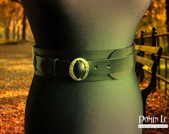 "Waist belt ""Silence"" of natural leather Wide Belt 