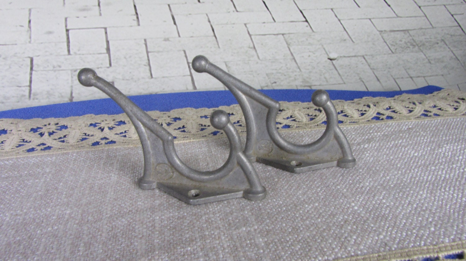 2 Dark Medium Wall Rack Hooks USSR 1970s, Medium Soviet Vintage Aluminium Clothe