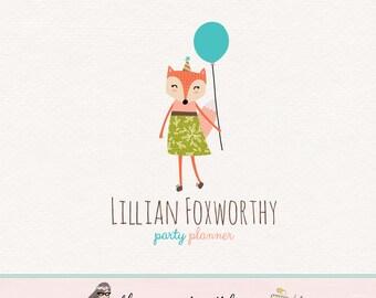 fox girl logo party logo woodland logo forest logo premade logo party planner logo balloon logo photography logo fox logo party decor logo