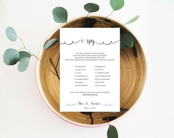 I Spy With My Little Camera Printable Card, Printable Camera Game, Wedding Hashtag Sign,  I Spy Wedding Game, Wedding Reception Game