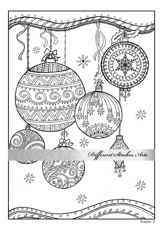 christmas ornaments coloring page downloadable xmas coloring book adult coloring book printable adult coloring book download intricate - Coloring Pages Christmas Ornaments