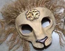 Lion mask, big cat, masquerade mask, Anthroporphic, lion mane, custom made, custom options, made to order