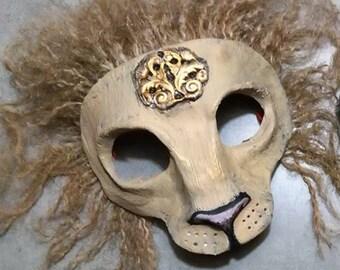 Lion mask, big cat, masquerade mask, Anthroporphic, lion mane, custom made, custom options, made to order
