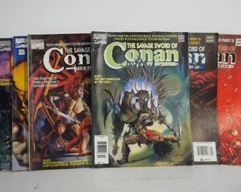 Lot of 6 Marvel Savage Sword of Conan Magazine Size Comic Books