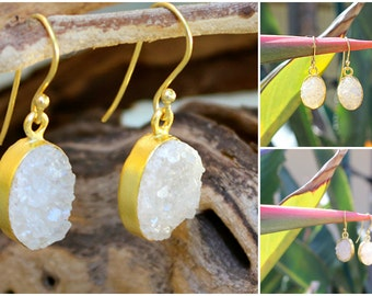 Gold Plated Whisper White Druzy Drop Earrings