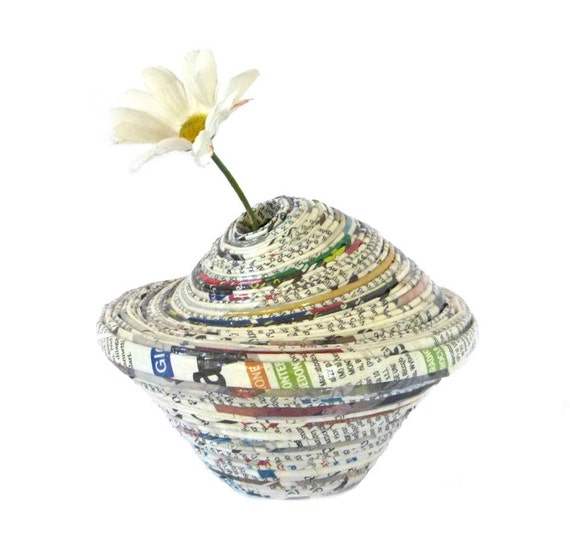Newspaper vase eco friendly recycled paper gray container home décor office ornament