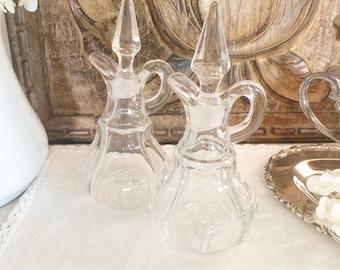 Vintage Set of 2 Glass Cruet