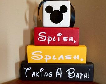Splish, Splash, Taking A Bath!  Wood Block Set Wood Sign Mickey Mouse Minnie Mouse