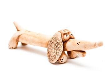 cute ceramic dachshund statuette