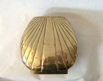 Vintage Mid Century Dolbi Cashier Brass Shell Vase Planter
