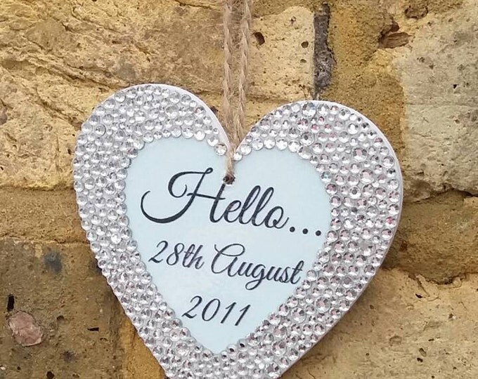 Personalised hanging heart with any quote, pearls & crystals, Wedding gift, Anniversary, Valentine, Embellished heart plaque.