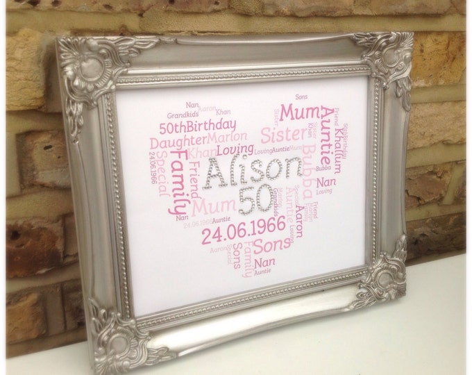 Personalised crystal word cloud for anyone or occasion, ornate frame. Birthdays, Weddings, Sparkle, ShabbyChic, Christmas, Christening gifts