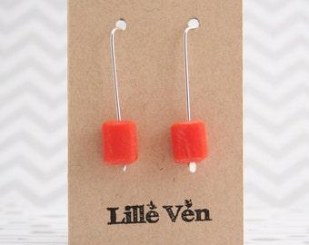 Sterling Silver Earrings Resin Cube Drop Earrings Orange