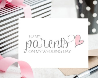 To My Parents on My Wedding Day Card - White Card Blank Inside for Your Personal Message