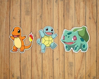Pokemon Starters Decal/Stickers (Squirtle, Charmander, Bulbasaur)
