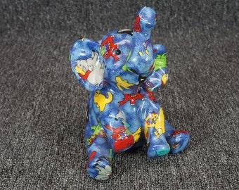 "Vintage Child's Ceramic Elephant Coin Bank 7"" Blue"