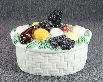 Ceramic Fruit Basket Vintage Etsy Uk