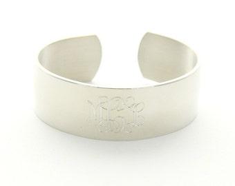 "Thin Monogram Pewter Cuff Bracelet .75"""