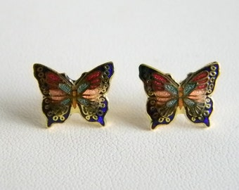 Tiny Cloisonne Multi Colored Butterfly Pierced Earrings