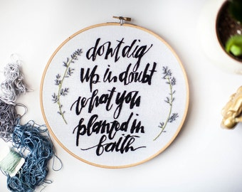 """Hoop Embroidery • 9.5"""" Round Planted in Faith [One-of-a-Kind]"""