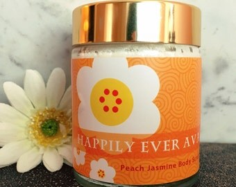 Peach Jasmine Sugar Scrub, Natural Beauty Products, Exfoliating Scrub, Happily Ever Ava