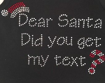 Rhinestone Holiday Santa Shirts - Christmas