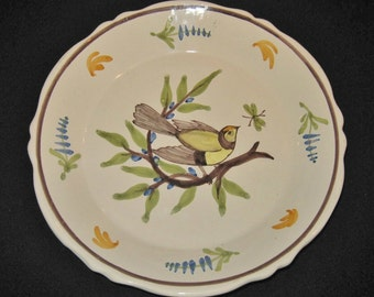 SALE Ceramic Scene plate, Bird and Insect, Nature Theme Plate, French Collectible Vintage