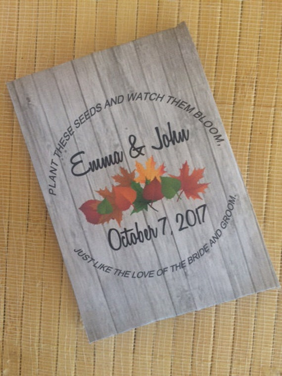 fall wedding favors, fall wreath, fall decorations, autumn wedding favors, fall Seed Packets, rustic wedding favors, fall favors