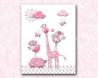 Giraffe Nursery art, nursery decor, Baby girl nursery wall art children room decor kids decor kids art baby art kids artwork play room decor