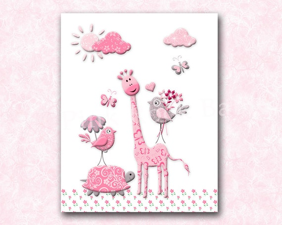 Wall Decor For A Baby Girl Nursery : Giraffe nursery art decor baby girl wall