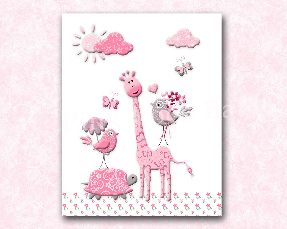 giraffe nursery art nursery decor baby girl nursery wall art