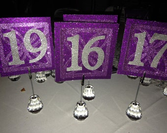 Wedding Table Numbers, Elegant Bling Table Numbers, Purple Table Numbers, Square Table Numbers, Prom Table Numbers, Wedding Table Numbers,