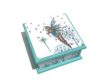 Fairy Keepsake Box - Aqua & White